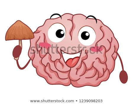 Mascot Magic Mushroom Brain Effect Illustration Stock photo © lenm