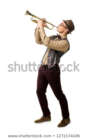 Man playing trumpet on white background Stock photo © bluering