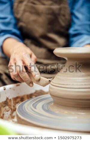 View senior femminile artista argilla ceramica Foto d'archivio © boggy