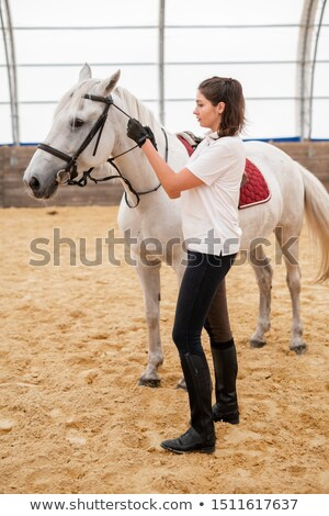 jonge · vrouw · zorg · paard · vrouw · glimlach - stockfoto © pressmaster