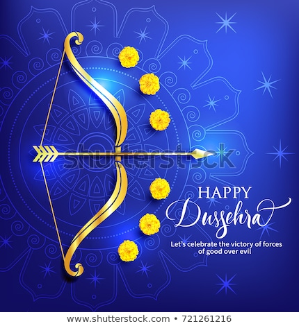 happy dussehra hindu festival card design with bow and arrow Stock photo © SArts