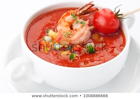 Stock fotó: Red Gazpacho With Shrimps