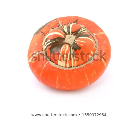 Bright orange Turks Turban heirloom gourd with striped, raised c Stock photo © sarahdoow
