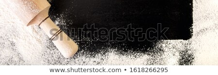 Stok fotoğraf: Copy Space Around Utensils Flour And Egg On Black Background Top View Frame Ingredients And Tool