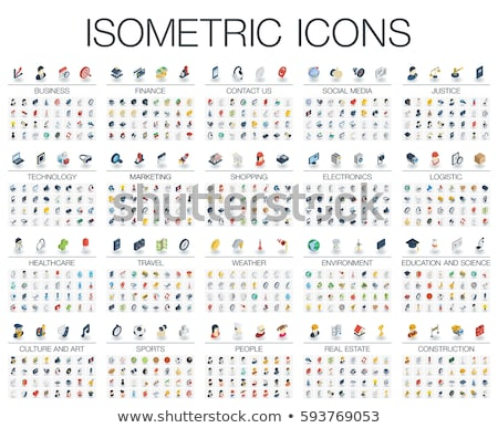 Social media and business isometric icons Stock photo © frimufilms
