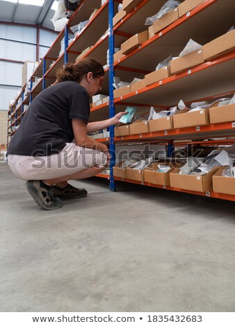 Logistics for building materials - woman working in warehouse Stock photo © Kzenon