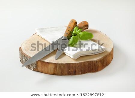 Iki keskin mutfak bıçaklar ahşap ayarlamak Stok fotoğraf © Digifoodstock