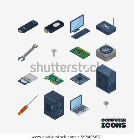 computer repair 16 flat icons Stock photo © ayaxmr