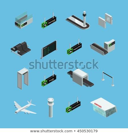 Légitársaság repülőtér izometrikus ikon szett vektor gyűjtemény Stock fotó © pikepicture