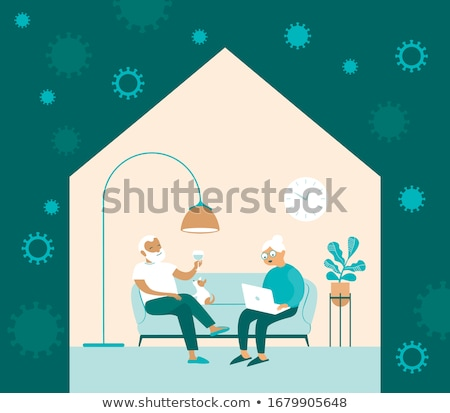 Self isolation, stay at home concept, people sitting at their apartment and doing household chores Stock photo © robuart