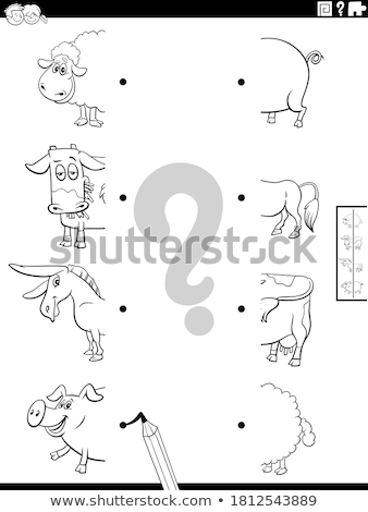 matching shapes game with pigs color book page Stock photo © izakowski