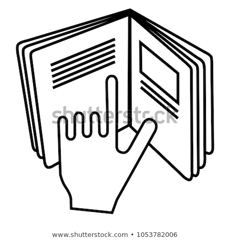 Openning book hand points to text Stock photo © RuslanOmega