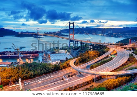 highway bridge sunset in hong kong stock photo © cozyta