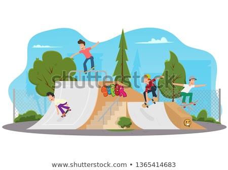 skateboarder skating at a skate park stock photo © arenacreative