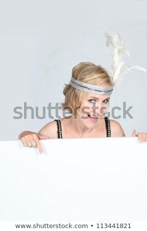 Nő tábla üzenet toll száj portré Stock fotó © photography33