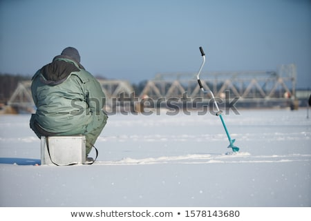 tent on the river ice stock photo © domako