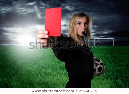 Női döntőbíró mutat piros kártya futball Stock fotó © pedromonteiro