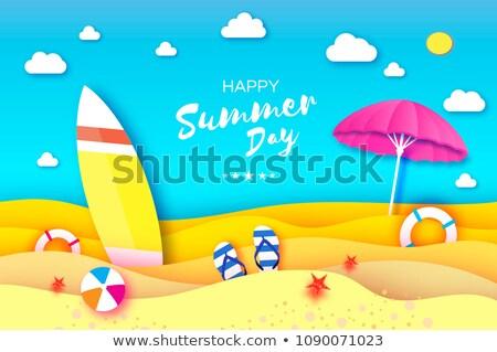 Strandlabda óceán szörf színes tengerpart víz Stock fotó © saje