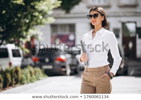 Kadın dizüstü bilgisayar dışında portre park kadın Stok fotoğraf © photography33