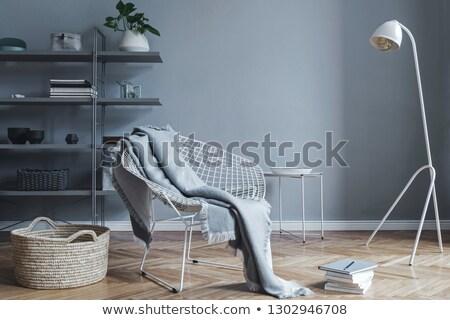 grijs · sofa · groene · muur · mode - stockfoto © Ciklamen