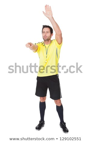Football referee showing stop gesture Stock photo © Aikon