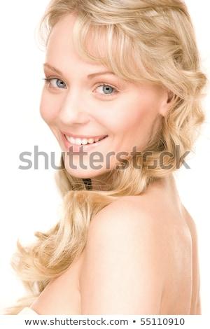 Sedutor jovem senhora isolado branco Foto stock © acidgrey