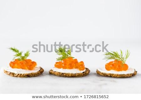 赤 · キャビア · 装飾された · 鮭 · 食事 · 皿 - ストックフォト © Alenmax