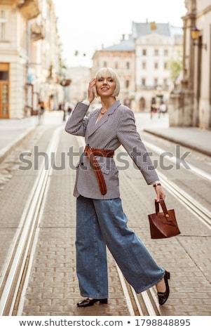 женщину · модный · синий · Top · джинсов - Сток-фото © stockyimages