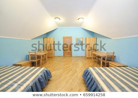 Széles látószögű hálószoba függőleges kilátás minimalista otthon Stock fotó © eldadcarin