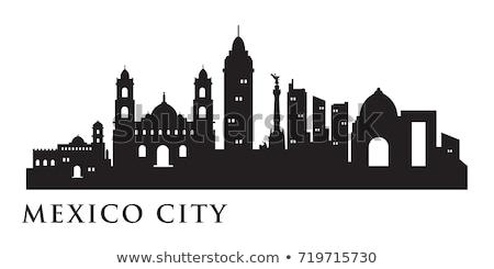 Mexikóváros sziluett sziluett alkonyat üzlet épület Stock fotó © jkraft5
