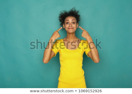mulher · indicação · ouvido · quadro · bela · mulher · cara - foto stock © dolgachov