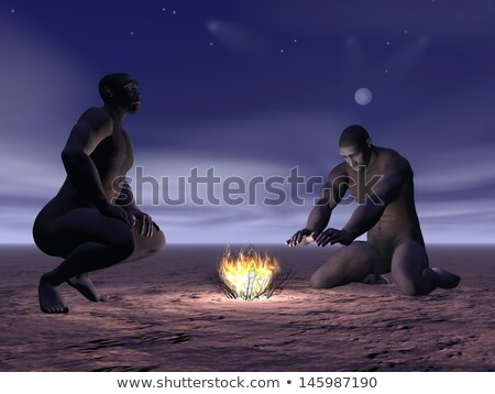 Homo erectus and fire - 3D render Stock photo © Elenarts