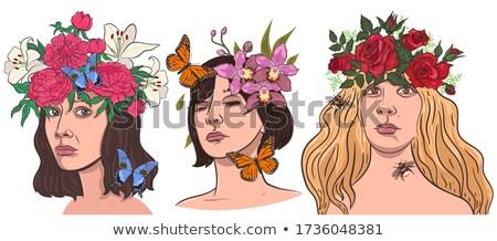 kız · çelenk · çiçekler · kafa · saç · güzel - stok fotoğraf © nikkos