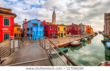 Colorful houses in a row on Burano Island, Venice, Italy Stock photo © aladin66