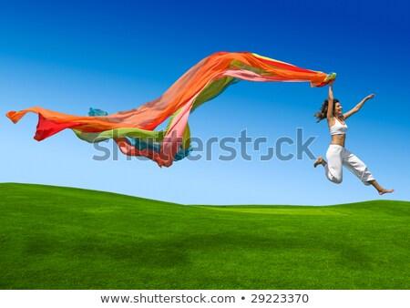 Flexibele meisje groene veld vrouw hemel Stockfoto © Nobilior