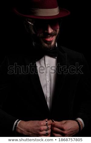 férfi · elegáns · zöld · bársony · öltöny · tart - stock fotó © feedough