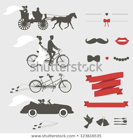 Esküvő tandem biciklik vektor szett esküvői meghívó Stock fotó © beaubelle