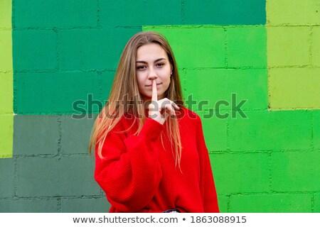 赤 ブロンド 少女 にログイン 指 ストックフォト © sebastiangauert