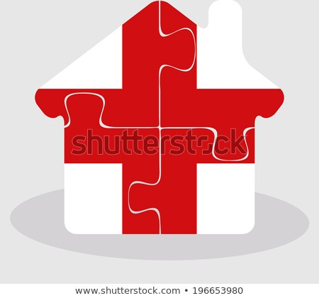 house home icon with England flag in puzzle Stock photo © Istanbul2009
