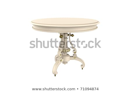 Round antique white table with carved legs Stock photo © amok