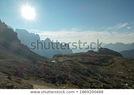 Valley in Dolomites with early morning clouds, Alps, Italy Stock photo © fisfra