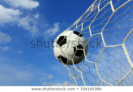 Soccer ball in the goal after shooted Stock photo © hin255