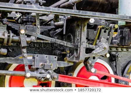 Stockfoto: Oude · metaal · locomotief · antieke · hemel · zomer