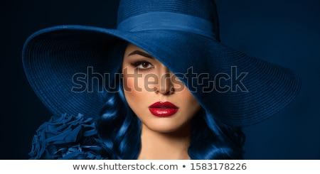 女性 · ポーズ · 外 · 少女 · 青 - ストックフォト © Kor
