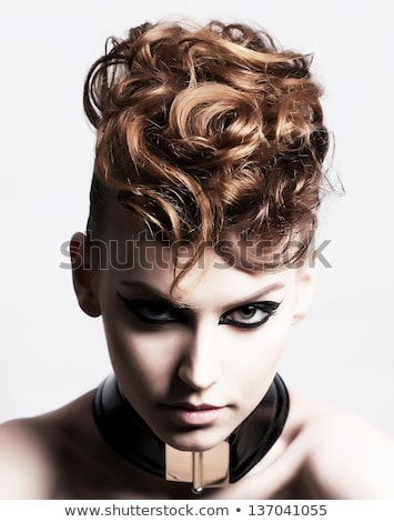Individuality. Glamorous Brunette with Curly Hair Stock photo © gromovataya