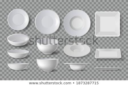 Set of four clean plates Stock photo © ozaiachin