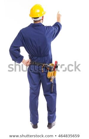Handyman indicação branco homem assinar retrato Foto stock © wavebreak_media