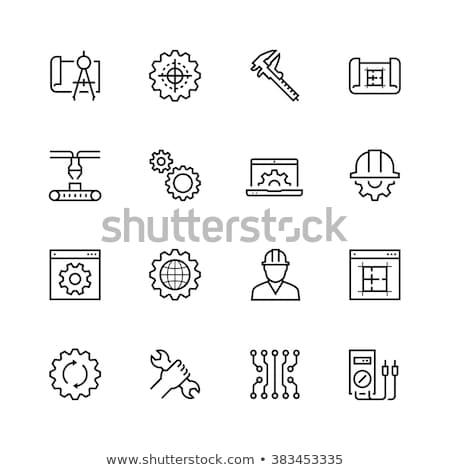 industrial process on the cogwheels blueprint style stock photo © tashatuvango