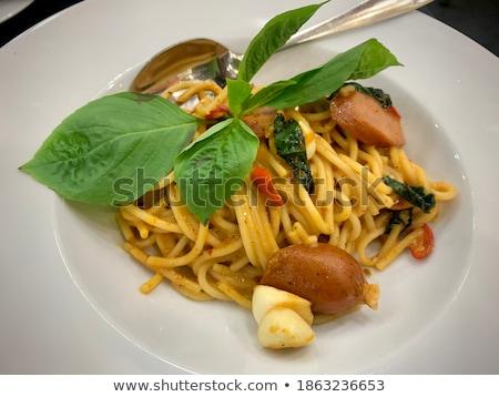 Forcella piccante spaghetti salsiccia ristorante pasta Foto d'archivio © art9858