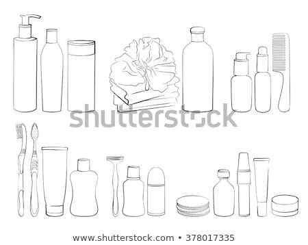 Shower gel and wisp of bast isolated on white  Stock photo © tetkoren